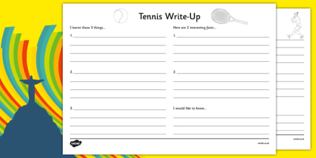 The Olympics Tennis Write Up Worksheet - the olympics, rio olympics, 2016 olympics, rio 2016, tennis, write up