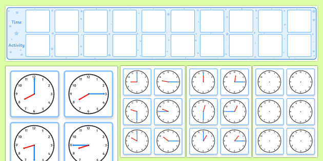Daily Routine Display With Clocks - Visual Timetable Display