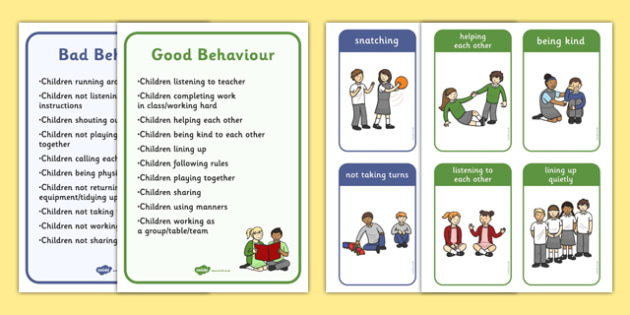 Good Bad Behaviour Flashcards With Words - good behaviour, flashcards, bad behaviour, words