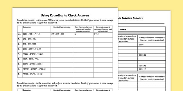 Using Rounding to Check Answers - estimate, approximate, checking