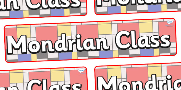 Mondrian Themed Classroom Display Banner - Themed banner, banner, display banner, Classroom labels, Area labels, Poster, Display, Areas