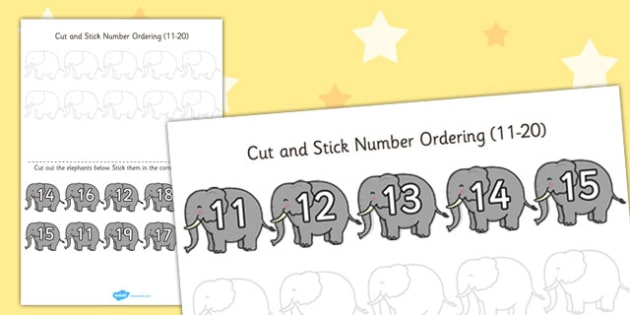 Safari Themed Cut and Stick Number Ordering Activity 11-20 - cut