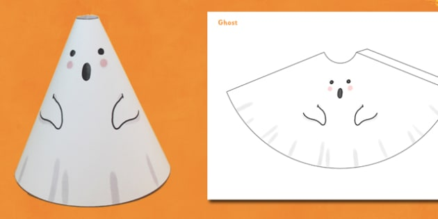 Halloween Cone Characters Ghost - halloween, ghost, cone, craft