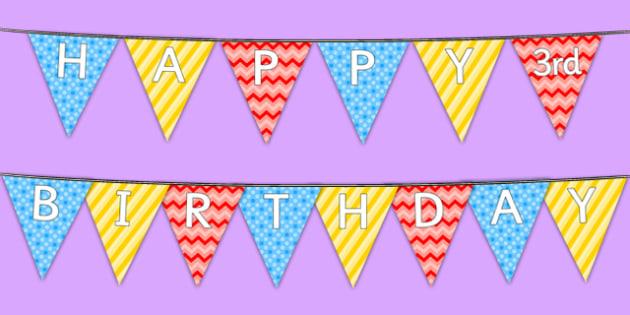 Happy 3rd Birthday Bunting - 3rd birthday party, 3rd birthday, birthday party, bunting