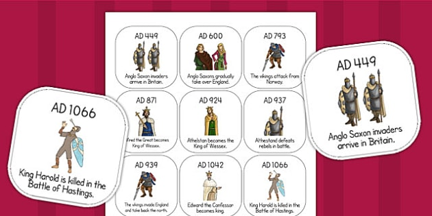 Anglo Saxons Timeline Ordering Activity - history, order, sort