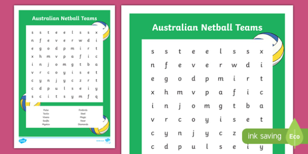 Netball Teams Word Search