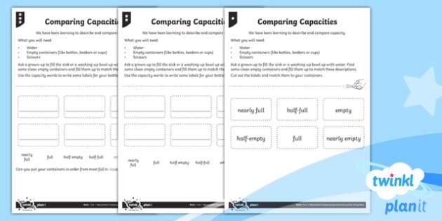 Understanding Capacity Home Learning Tasks - Measurement, capacity, measure
