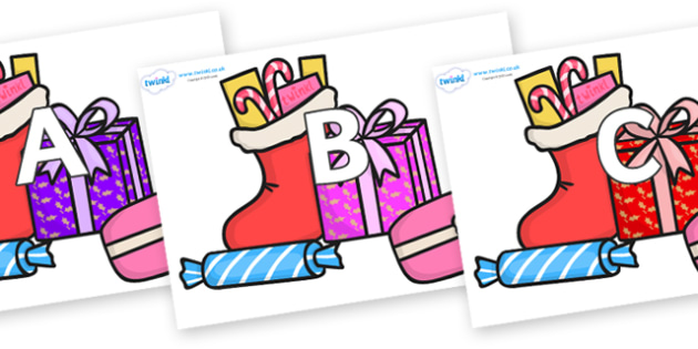 A-Z Alphabet on Christmas Gifts - A-Z, A4, display, Alphabet frieze, Display letters, Letter posters, A-Z letters, Alphabet flashcards