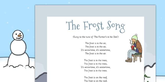 The Frost Song - the frost, song, frost, frost song, lyrics, eyfs, activity