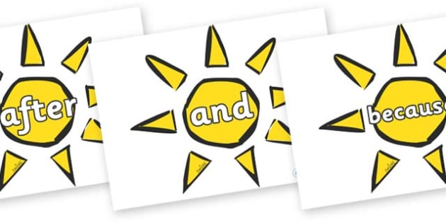 Connectives on Weather Symbols (Sun) - Connectives, VCOP, connective resources, connectives display words, connective displays
