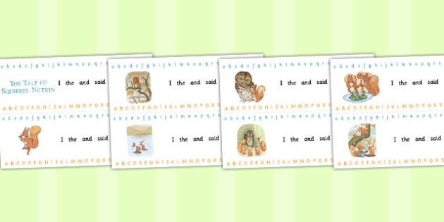 The Tale of Squirrel Nutkin Alphabet Strips - squirrel nutkin, alphabet