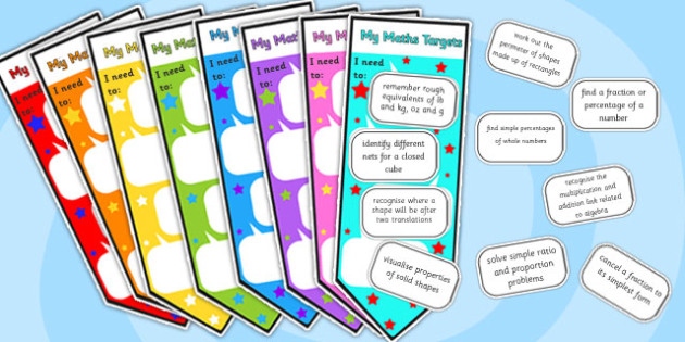 Level 5 Maths Assessment Bookmarks and Target Cut-Couts - level 5, maths assessment, maths, maths level 1, bookmarks, target stickers, maths sticker, numeracy