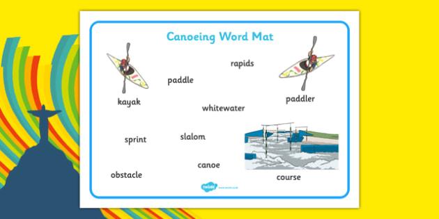 Rio 2016 Olympics Canoeing Word Mat - rio 2016, 2016 olympics, rio olympics, canoeing, word mat