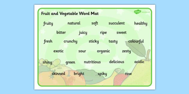 Fruit and Vegetable Descriptive Word Mat - fruit, vegetable, word mat