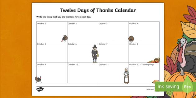 Twelve Days of Thanks Calendar Activity