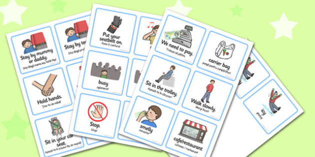 SEN Communication Cards Out And About Boy Romanian Translation - romanian