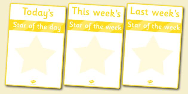 Star of the Week Poster - star of the week, poster, sign, banner, display, award, reward, well done, star, week