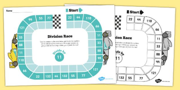 Dividing By 11 Race Worksheet - Maths, Divide, Dividing, Race
