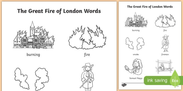 The Great Fire of London Words Colouring Page