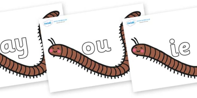 Phase 5 Phonemes on Millipedes - Phonemes, phoneme, Phase 5, Phase five, Foundation, Literacy, Letters and Sounds, DfES, display