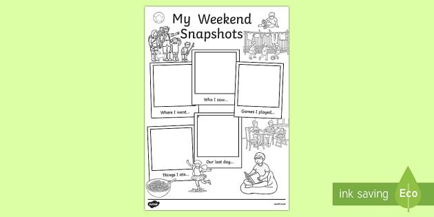 My Weekend Snapshots Writing Frames