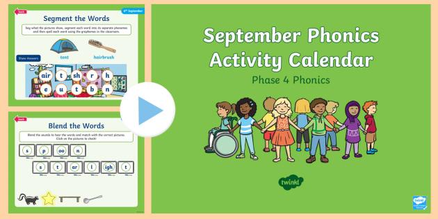 Phase 4 September Phonics Activity Calendar PowerPoint - Reading, Spelling, Game, Starter, Sounds
