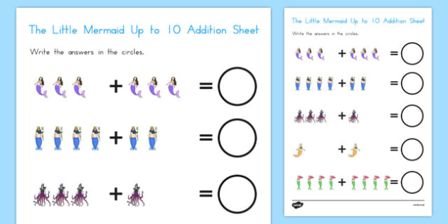 The Little Mermaid Up to 10 Addition Sheet - australia, little mermaid