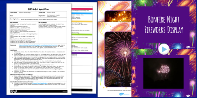 Firework Words EYFS Adult Input Plan and Resource Pack