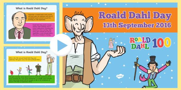 Roald Dahl Day 2016 PowerPoint - welsh, Roald Dahl Day, Roald Dahl 100, PowerPoint