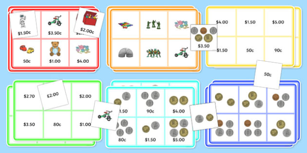 Toy Shop Bingo Up to 5 Dollars Activity Pack - nz, new zealand, money, dollars, cents, game, activity, grocery store, game, fun, maths, numeracy, coins, notes
