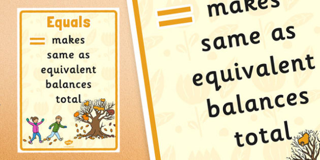 Autumn Themed Equals Vocabulary Display Poster - autumn, equals, vocabulary, display