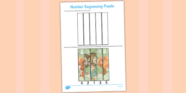 The Tale of Squirrel Nutkin Number Sequencing Puzzle - Beatrix Potter, animals, stories, ordering