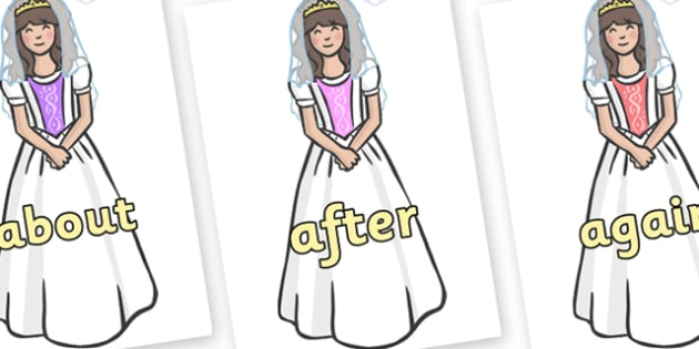 KS1 Keywords on Princesses - KS1, CLL, Communication language and literacy, Display, Key words, high frequency words, foundation stage literacy, DfES Letters and Sounds, Letters and Sounds, spelling