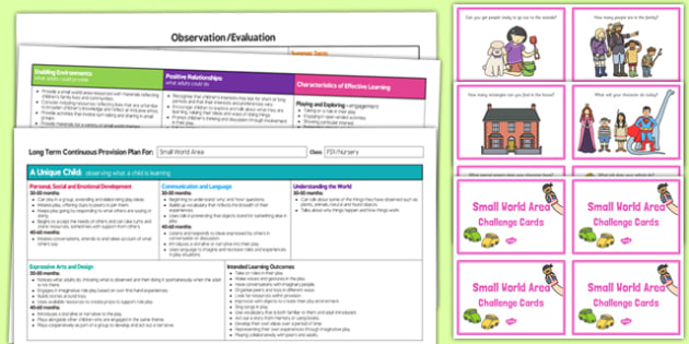 Small World Area Editable Continuous Provision Plan and Challenge Cards Pack Nursery FS1