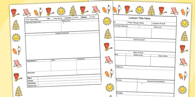 Seaside Themed Editable Individual Lesson Plan Template - plans