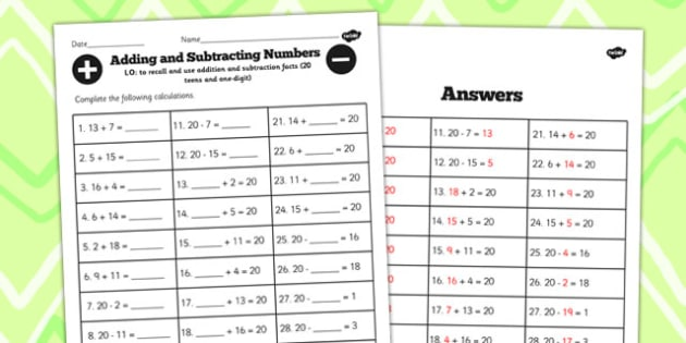 Number Facts to 20 Worksheet Teens Add One Digit - facts, maths