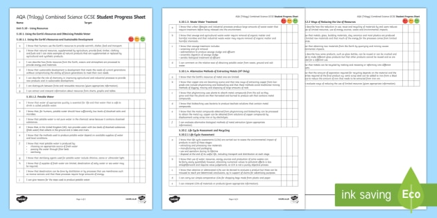 AQA (Trilogy) Unit 5.10 Using Resources Student Progress Sheet