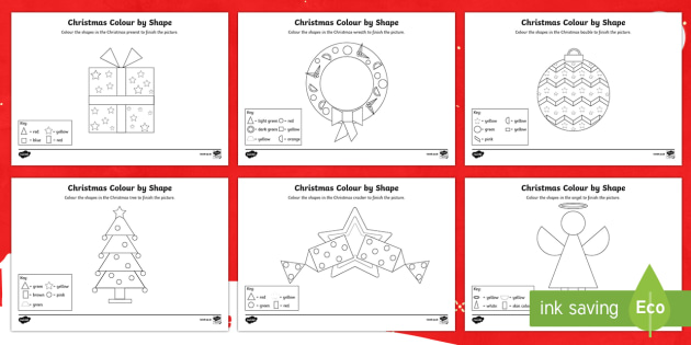 Christmas Themed Colour by 2D Shape Activity Sheet