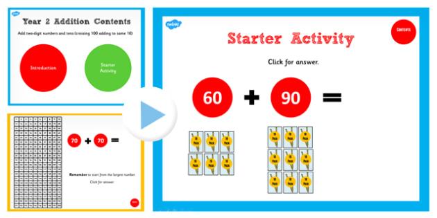 Y2 Adding 2 Numbers Tens Same 10 Cross 100 Start Teach PowerPoint