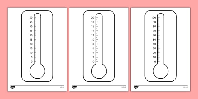 Blank Thermometers Multiples Of 2, 5 And 10 - Blank