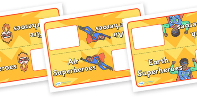 Editable Superhero Group Table Signs - superhero, group, table, signs