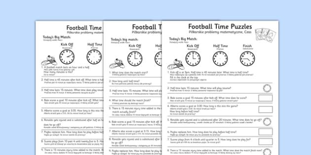 Football Themed Differentiated Time Activity Sheets Polish Translation - polish, football, euro 2016, worksheet