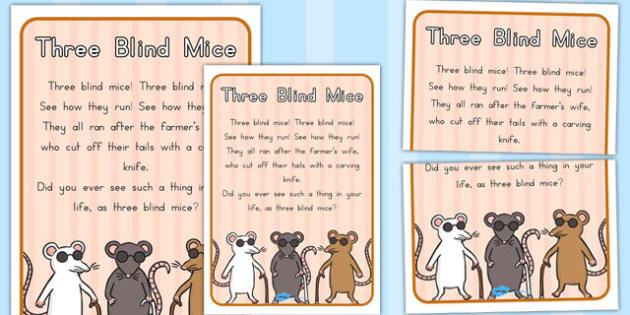 Three Blind Mice Nursery Rhyme Poster - australia, nursery, rhyme