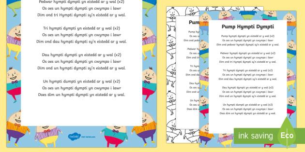 Hwiangerdd 'Pump Hympti Dympti' Song Lyrics - Canu, Caneuon, Arddangosfeydd Dosbarth, Rhifedd, Cyfri, Welsh
