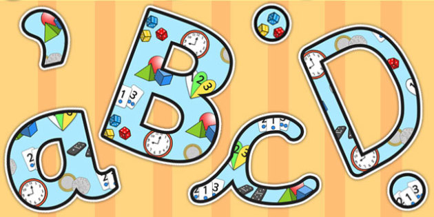 Number Area Themed A4 Display Lettering - number, area, letters