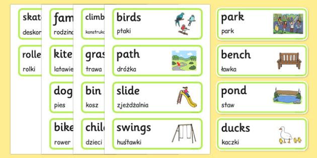 Park Word Cards Polish Translation - polish, park, word cards, word, cards, places, outside