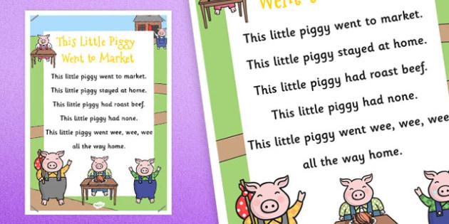 This Little Piggy Nursery Rhyme Poster - rhymes, display, poems