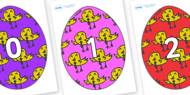 Numbers 0-100 on Easter Eggs (Chicks) - 0-100, foundation stage numeracy, Number recognition, Number flashcards, counting, number frieze, Display numbers, number posters