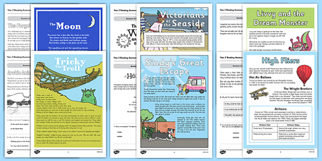 Year 2 Reading Assessments Pack - formative, summative, diagnostic, fiction, non-fiction, sats, test, ks1, key stage 1