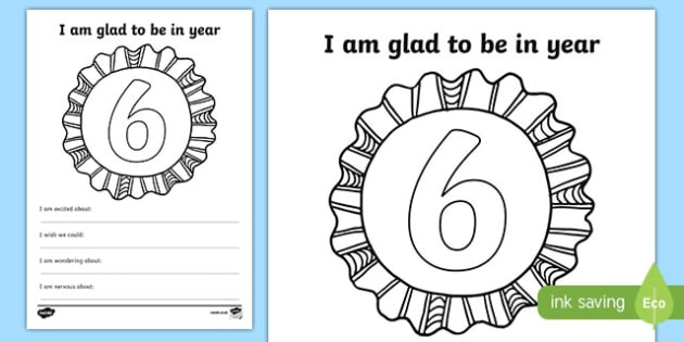 Im Glad to be in Year 6 Writing Frame - writing template, write